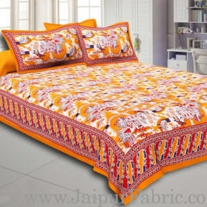 Yellow Border Good Looking Heritage Design Pure Cotton Double Bedsheet With Pillow Cover