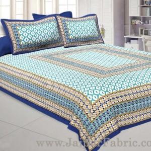 Double Bedsheet Royal Blue Border Rectangle Print