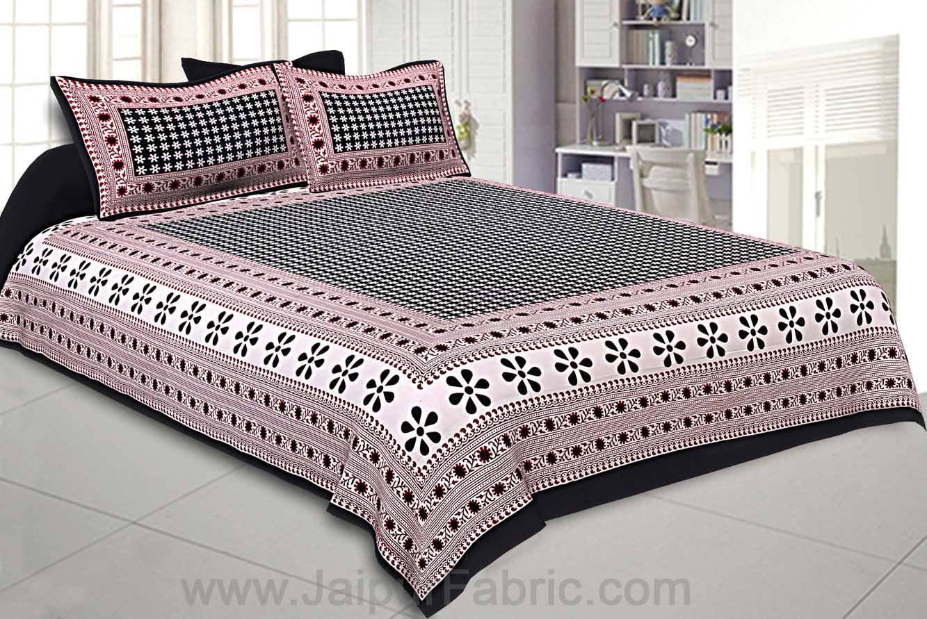Double Bedsheet Black Color Rangoli Print