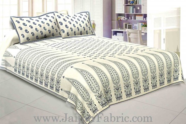 Double bedsheet Blue Long Leaf Smooth Cotton Screen Print
