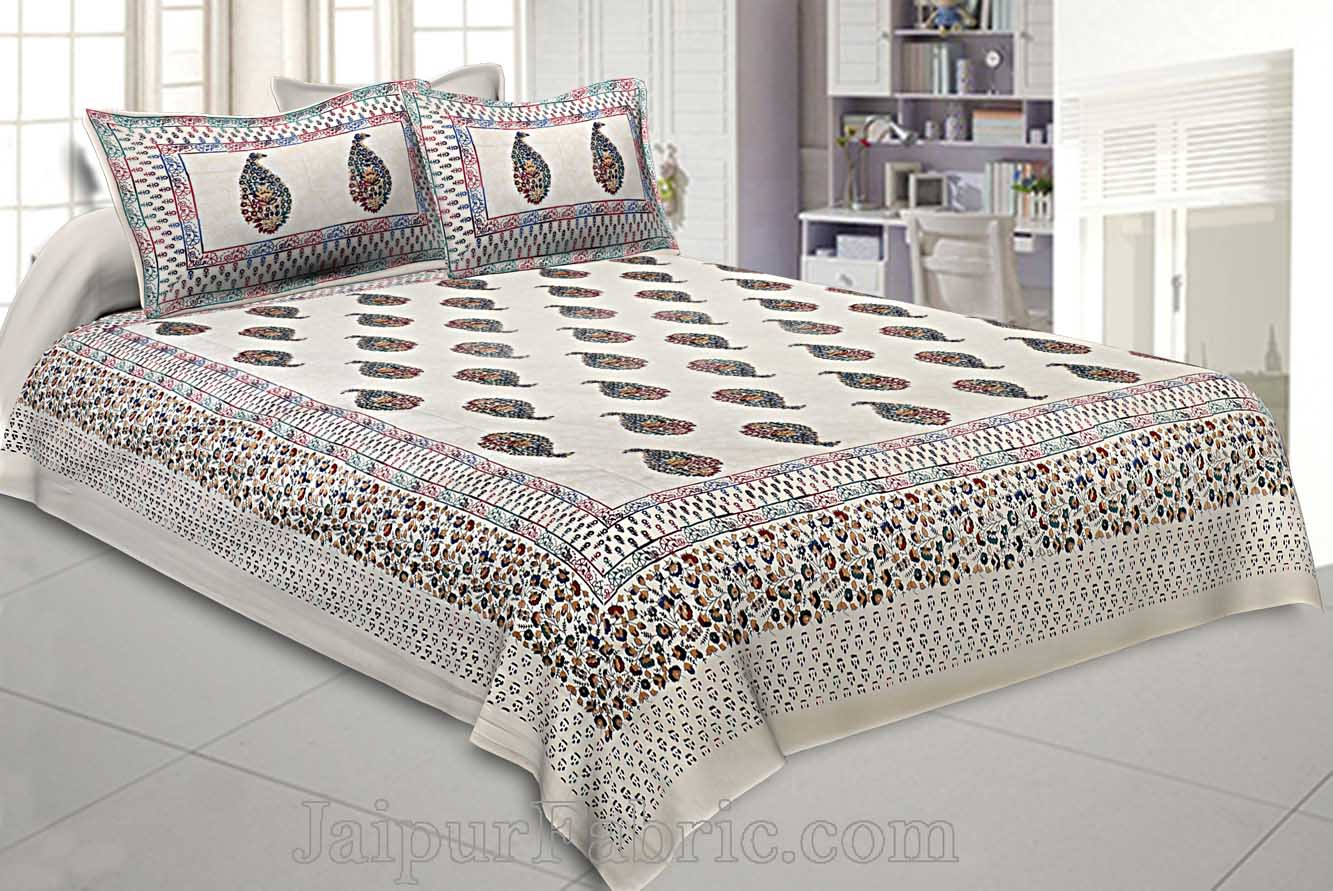 King Size Double Bedsheet Cream Colorful Paisley Satrangi