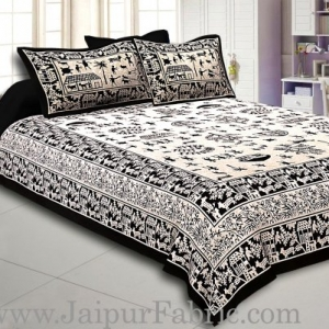 Black Border Cream Base Light And Rural Pattern Super Fine Double Bed Sheet
