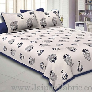 Double Bedsheet  Blue Border  Fine Cotton  Block Print