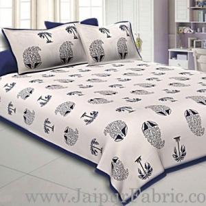 Double Bedsheet  Blue Border  Fine Cotton  Block Print