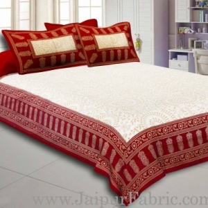 Maroon Border Cream Base With Golden Print Figure Print Super Fine Cotton Double Bed Sheet