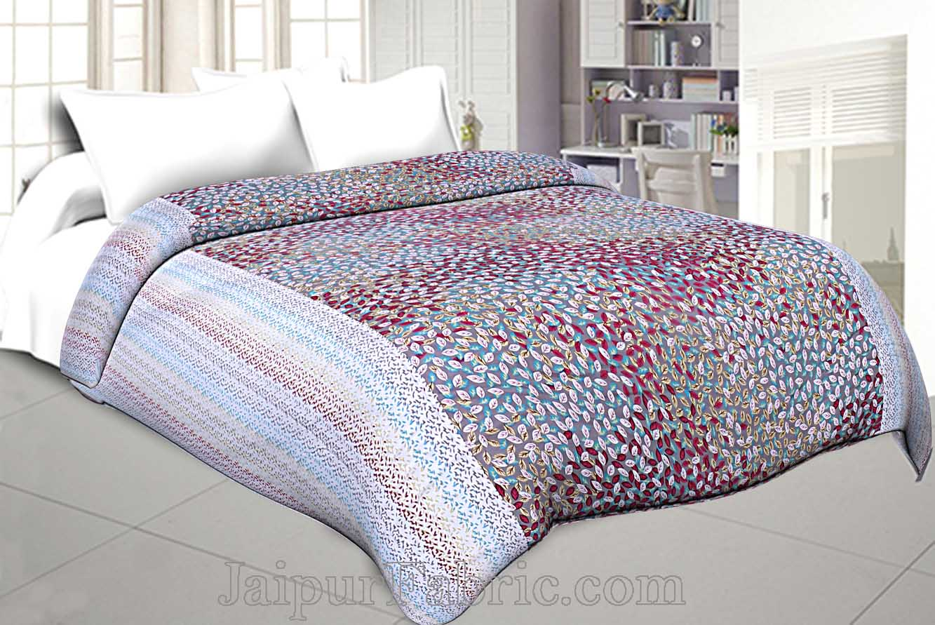 Cambric Cotton Double bed Reversible Dohar with Pink Spring Petals