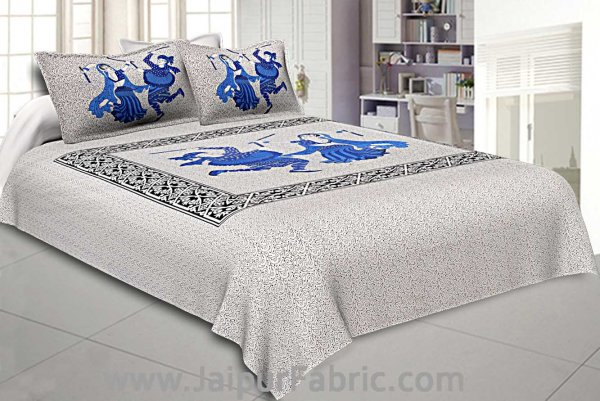 Double Bedsheet Blue Dandiya Dance