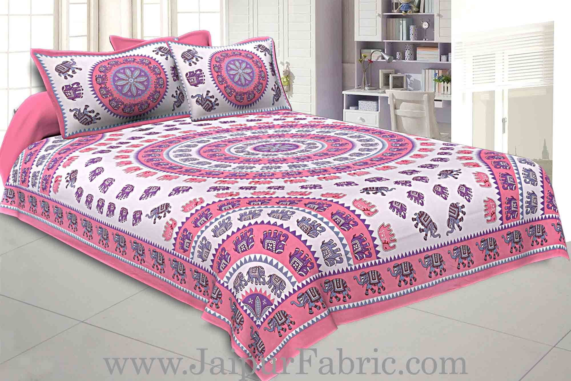 Double bedsheet Pink Border With Elephant Print Fine Cotton With Two Pillow Cover