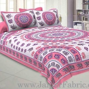 Wholesale Double bedsheet Pink Border With Elephant Print Fine Cotton With Two Pillow Cover taxable