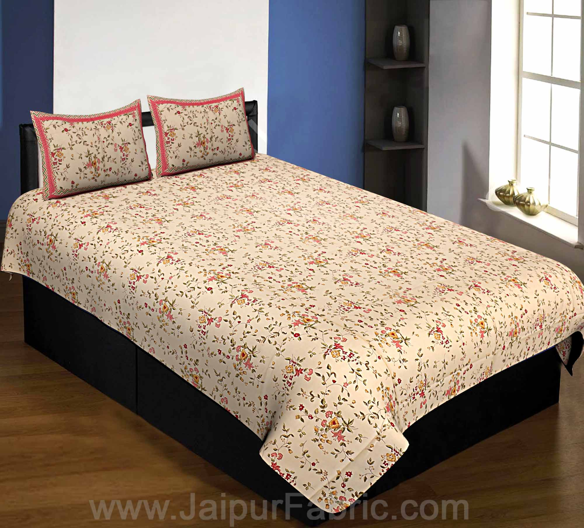 Pure Cotton 240 TC Single Bedsheet cream floral motif print taxable
