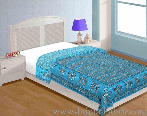 Jaipuri Razai Firozi Color Camel Golden Print Single Bed Quilt