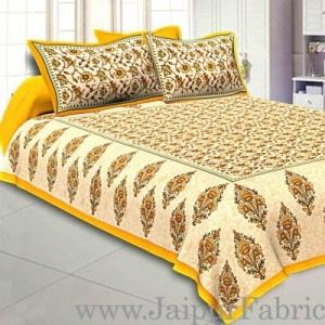 Wholesale Yellow Border Tropical keri Design Cotton Double Bed Sheet