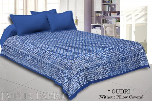 Blue And White Hand Block Dabu Print With Thread Hand Work(Kantha) With Lining Cotton Gudri (Bed Cover)