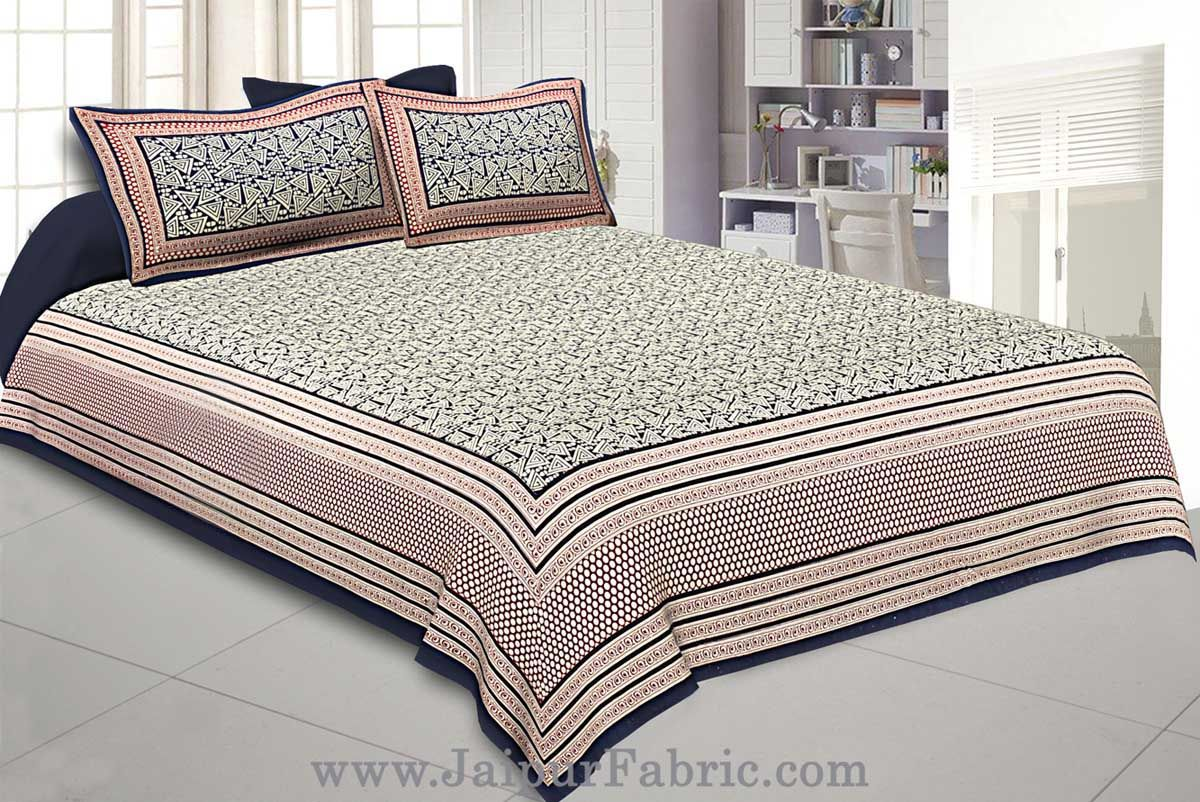 Super King Size Double Bedsheet Blue Retro Pattern with 2 Pillow Covers