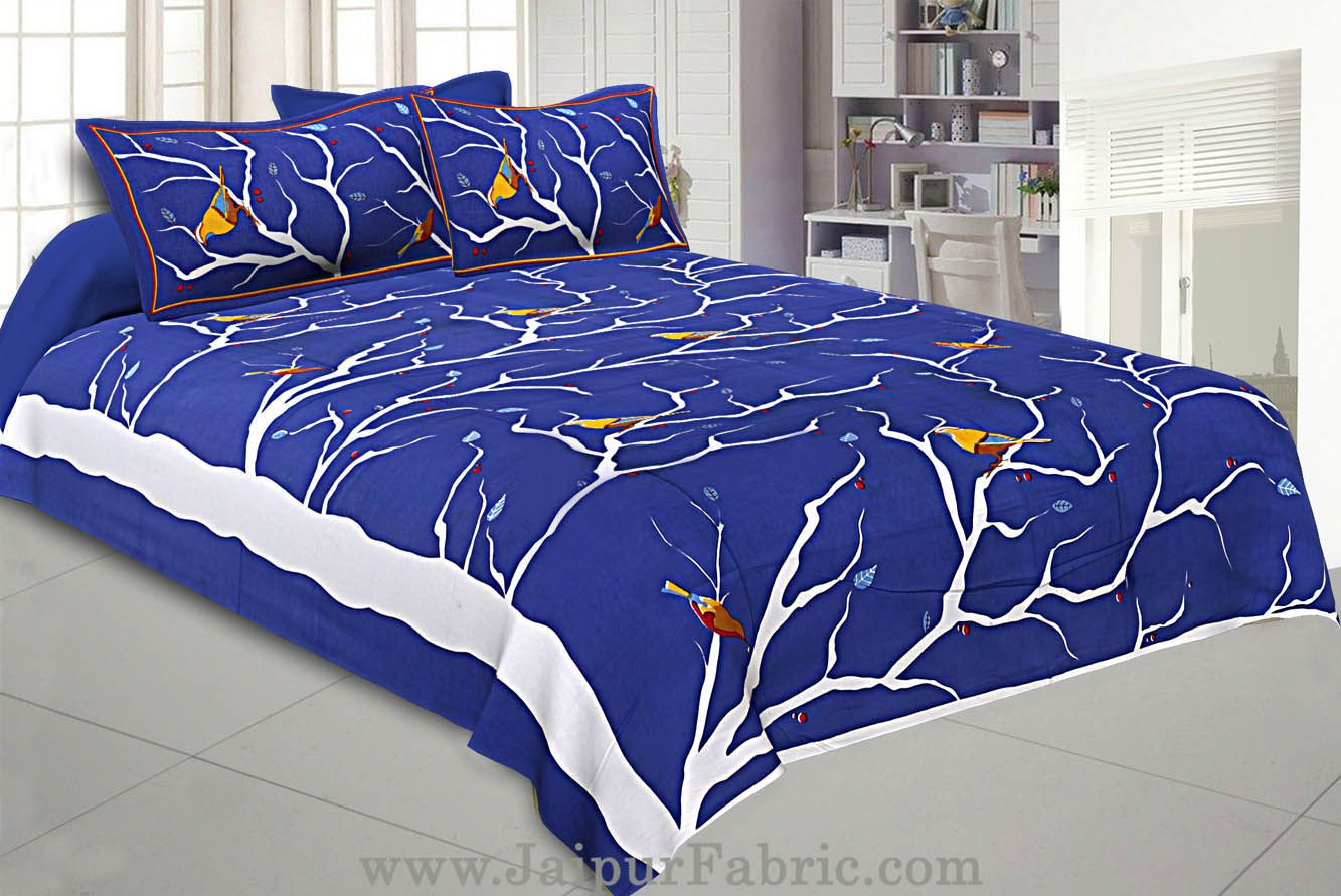 Indian Sparrow Double Bedsheet Blue Color With 2 Pillow covers