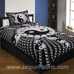 Black Border Black Base Doordarshan Print Fine Cotton Single Bedsheet With Pillow Cover