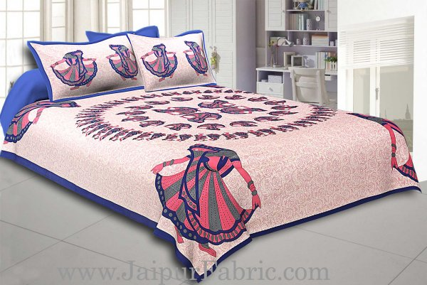 Blue  Border Rajasthani Gujri Dance Cotton Double Bedsheet