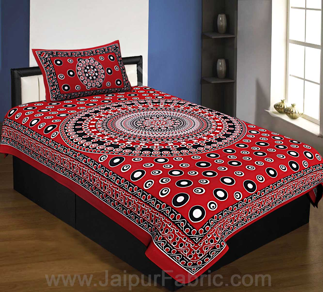 Single Bedsheet Maroon Color  Rangoli Pattern Smooth Touch With 1Pillow Cover