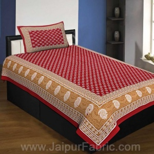 Crimson Border Floral Pattern Screen Print Cotton Single Bedsheet