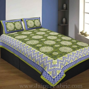Single Bedsheet Pure Cotton Green Border Flower Print Zig Zag Pattern