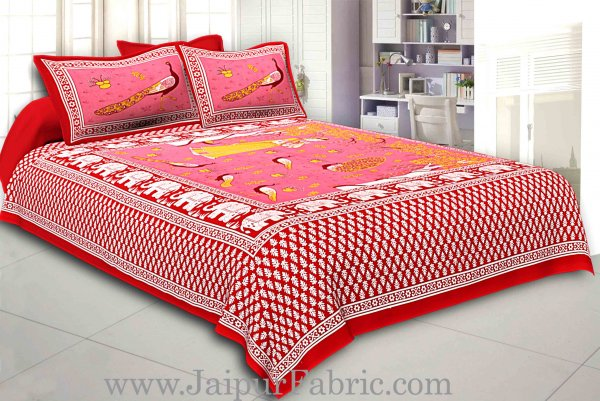 Maroon Border Pink Base Meera With Peacocks Cotton Double Bedsheet
