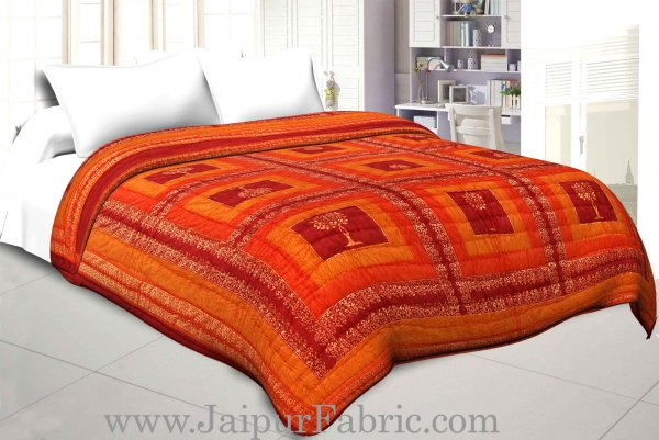 Maroon And Yellow Golden Jaipuri  Tree  print Double Bed Quilt