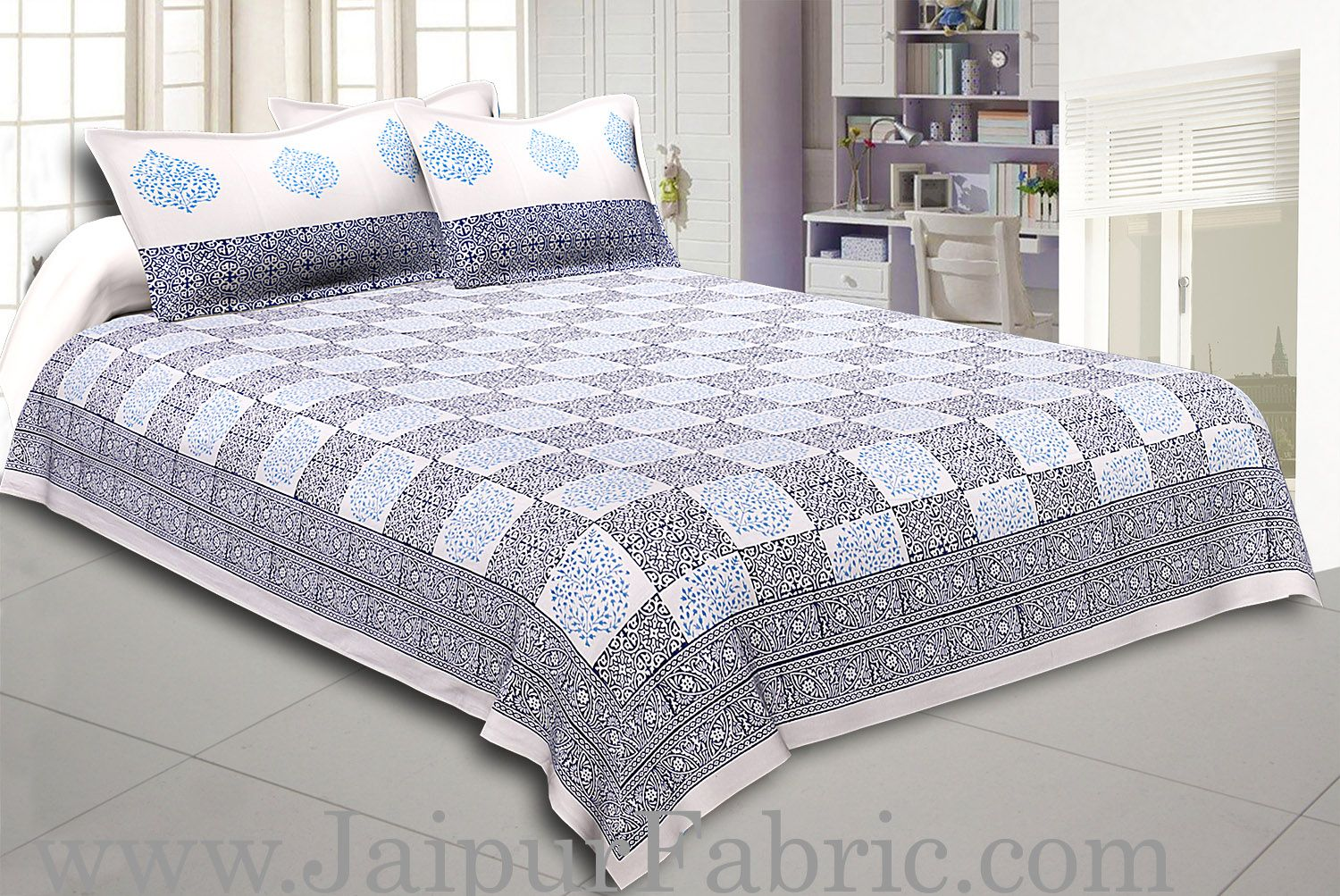 White Border With White Base Hand Block  Check Print Super Fine Cotton Double Bed Sheet