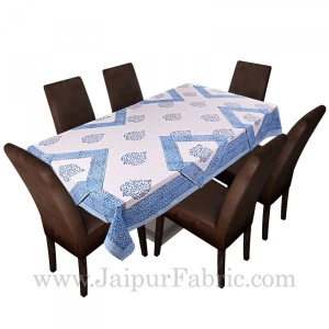 Light Blue Border White base With Hand Block Print Super Fine Cotton Table Cover