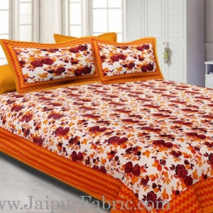 Yellow Border With Zigzag Pattern Floral Print Double Bed Sheet  With 2 Pillow Cover