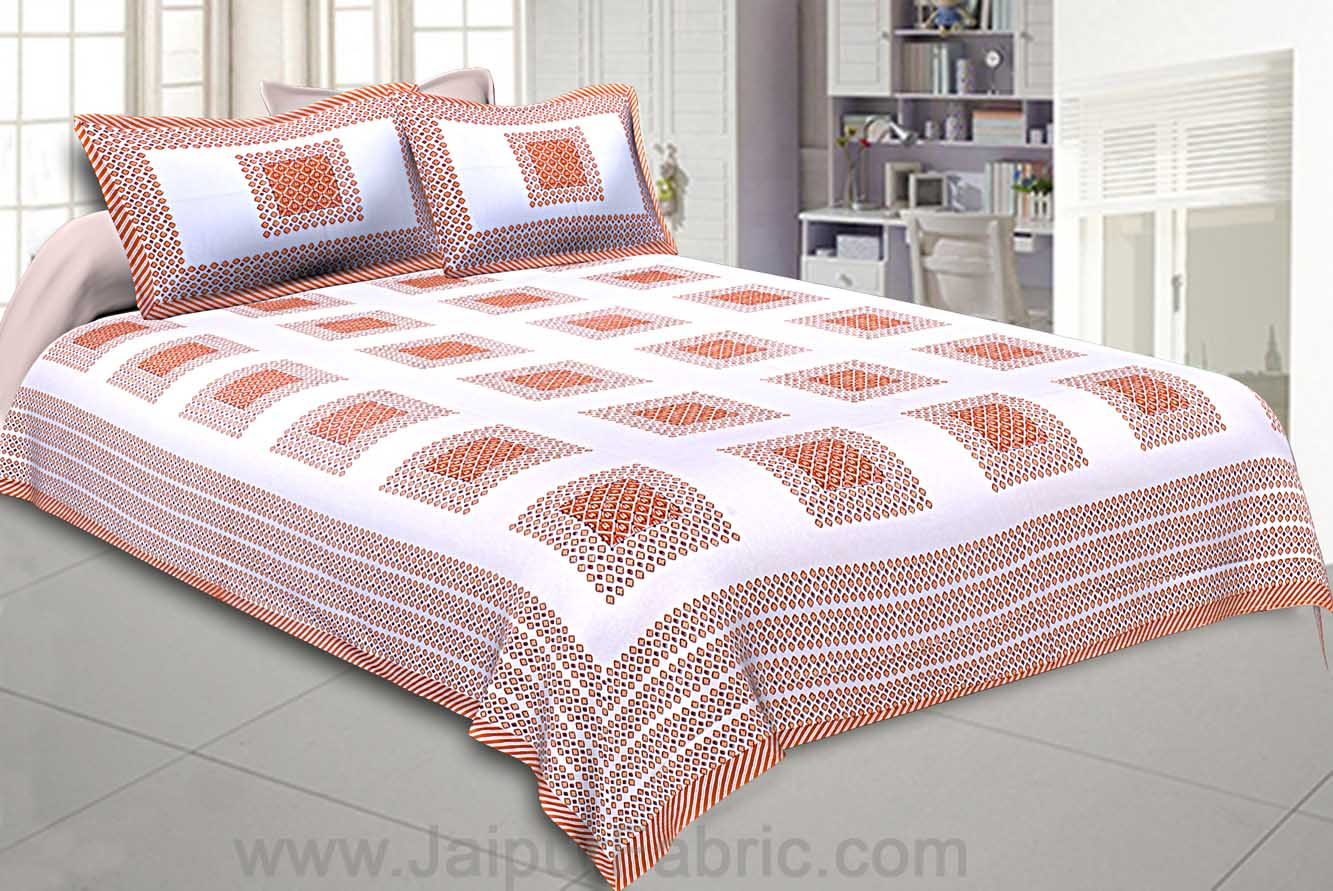 Double Bedsheet Brown Checks Cotton