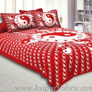 Red Border Red Base Doordarshan  Print Fine Cotton Double Bedsheet  With Pillow Cover