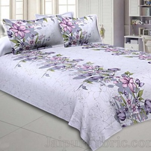 Double Bedsheet Twill Cotton Lilac Purple Floral Motif Print