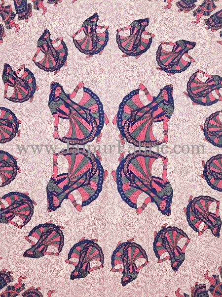 Blue  Border Rajasthani Gujri Dance Cotton Double Bedsheet