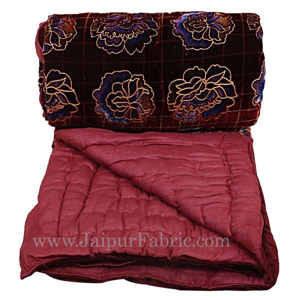 Jaipuri Printed Velvet Quilt/Rajai Hand Crafted Red Floral Print