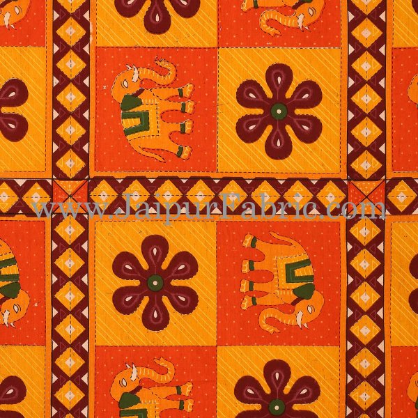 Orange Border Green Lining  Leaf And Floral Print In Square Pattern Cotton Double Bed Sheet