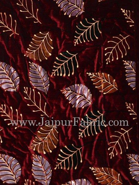 Brown Border  Flower In Check Print Velvet(Shaneel) Single Quilt