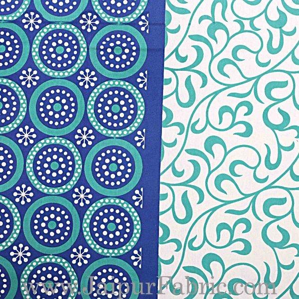Navy Blue Border White Base Circle Pattern Screen Print Cotton Double Bed Sheet