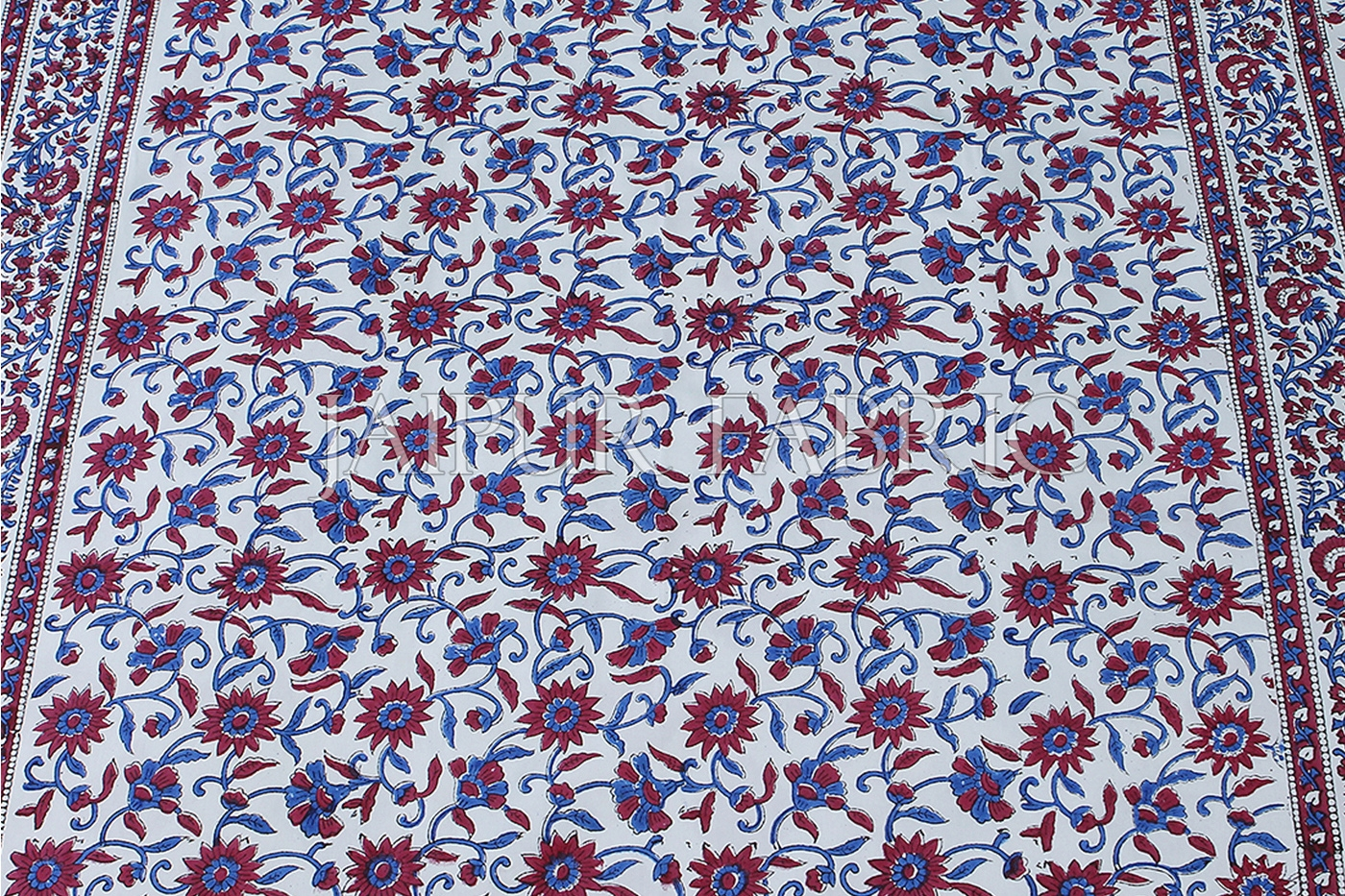 White Base with blue and Red floral print Single Cotton Bedsheet