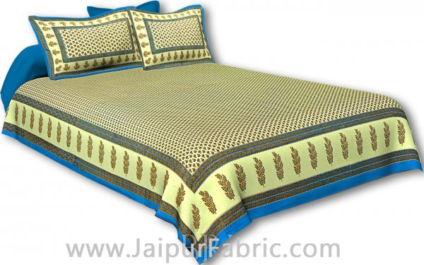 Firozi Border Cream Base Small Tree Pattern With Golden Print Super Fine Cotton Double Bedsheet