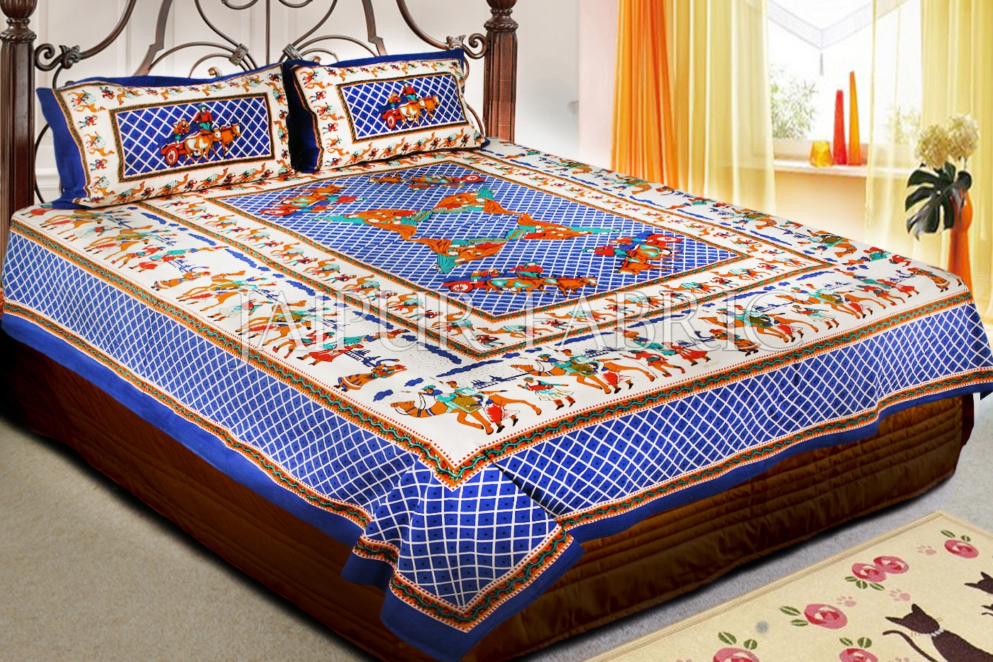 Blue Base Multi Color Cattle and cart Print Double Bedsheet with pillow Covers