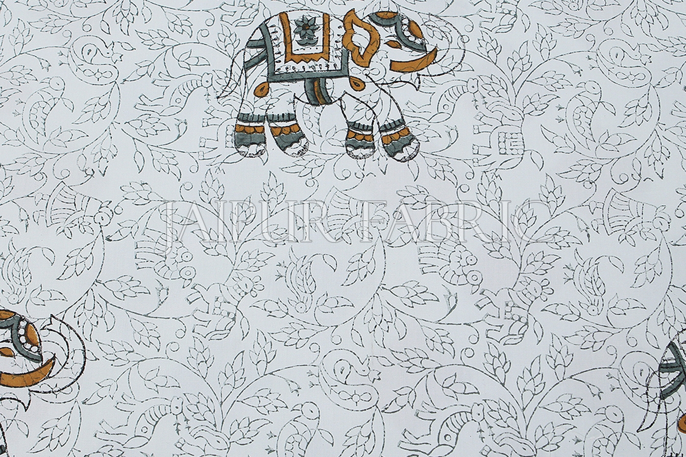 White Base With Elephant Block Print Single Cotton Bed Sheet
