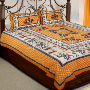 Yellow Base Multi Color Cattle and cart Print Double Bedsheet with pillow Covers