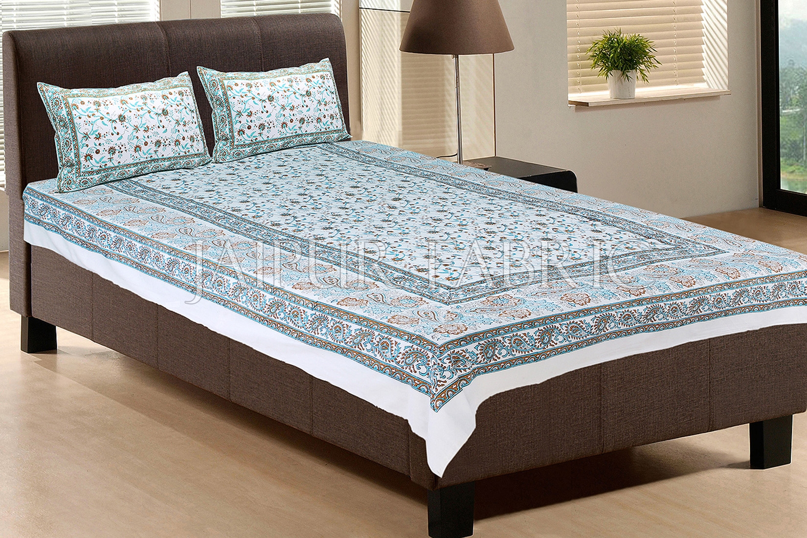 White Base With Cyan Color Print Single Cotton Bed sheet