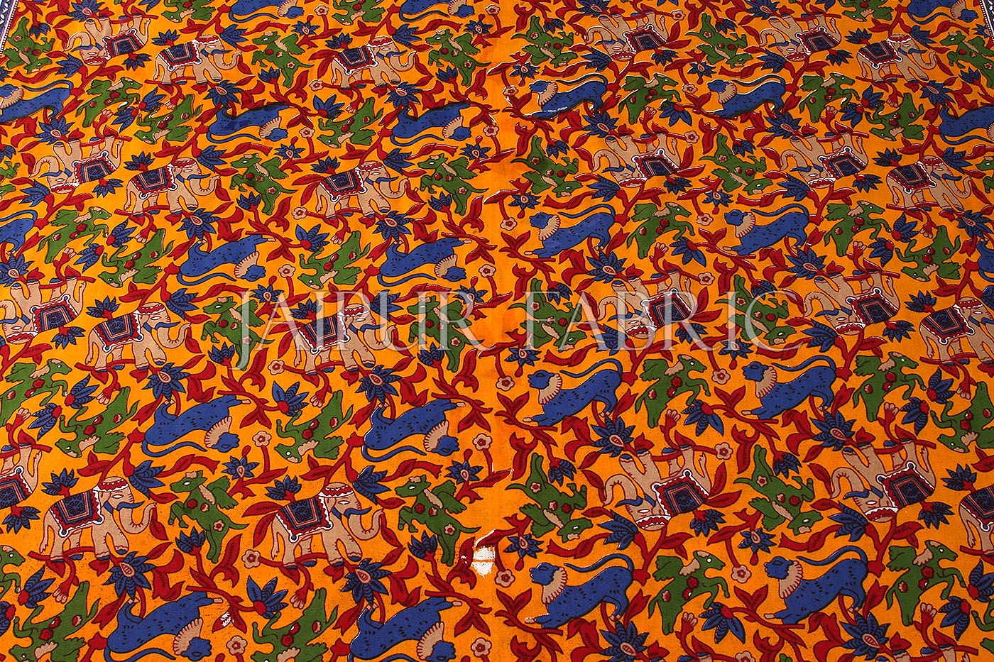 Orange Base Jaipur Handmade animal block  print bedsheet With pillow Covers