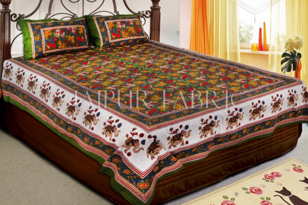 Green Base jaipur Handmade animal print bedsheet With pillow Covers