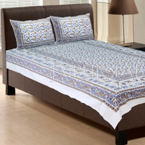 White Base With Blue color Cattle Block print Single Cotton bed Sheet