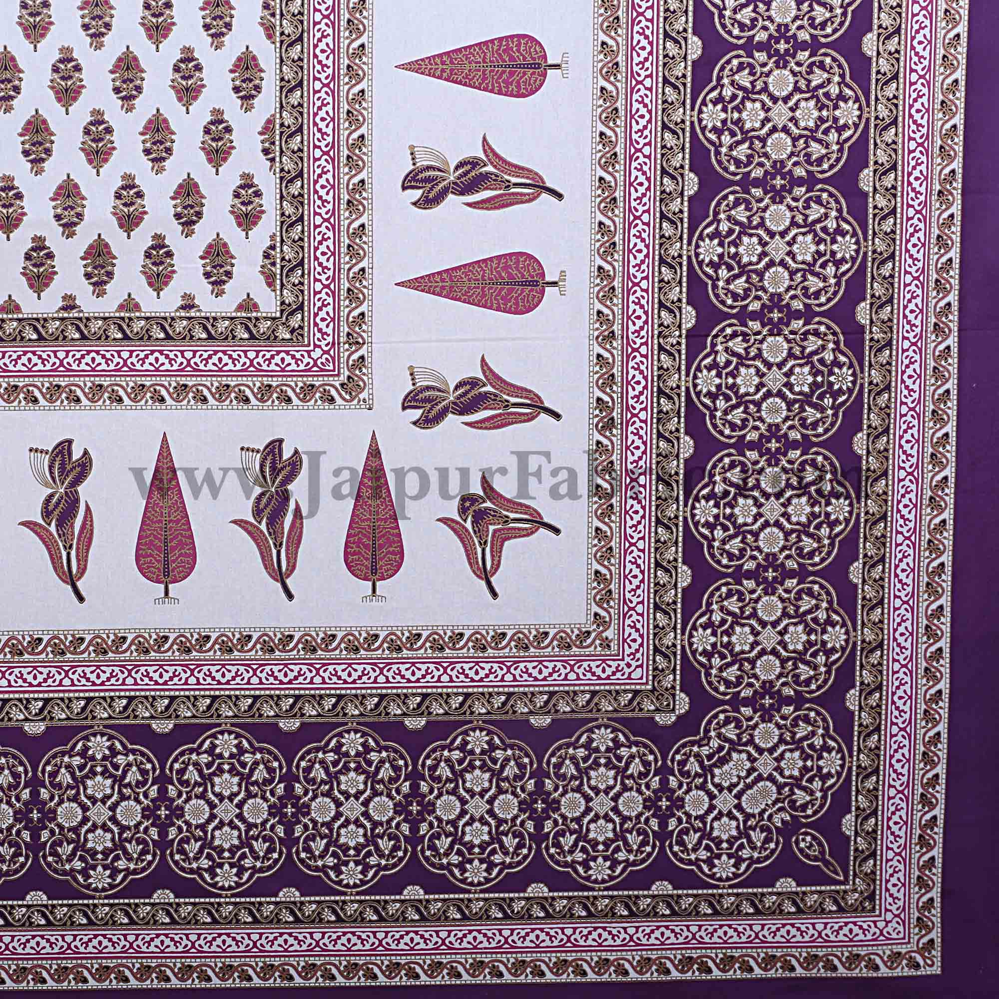 Purple Pink Gold Print Double Bedsheet