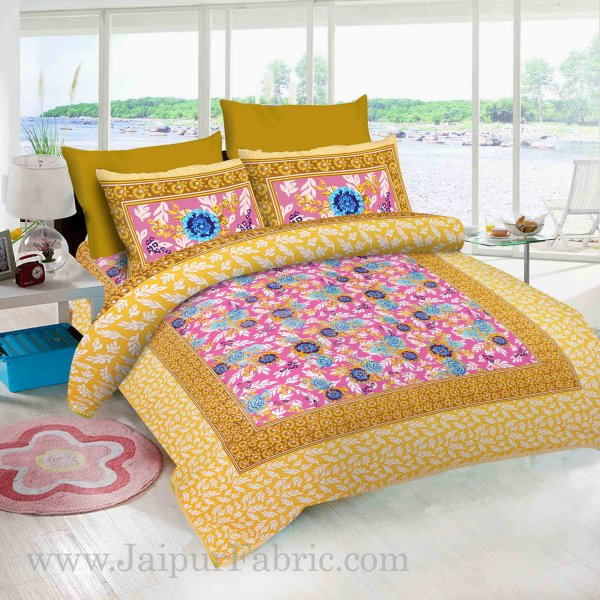 Pink Base Floral Design screen print king size double bedsheet with 2 pillow cover