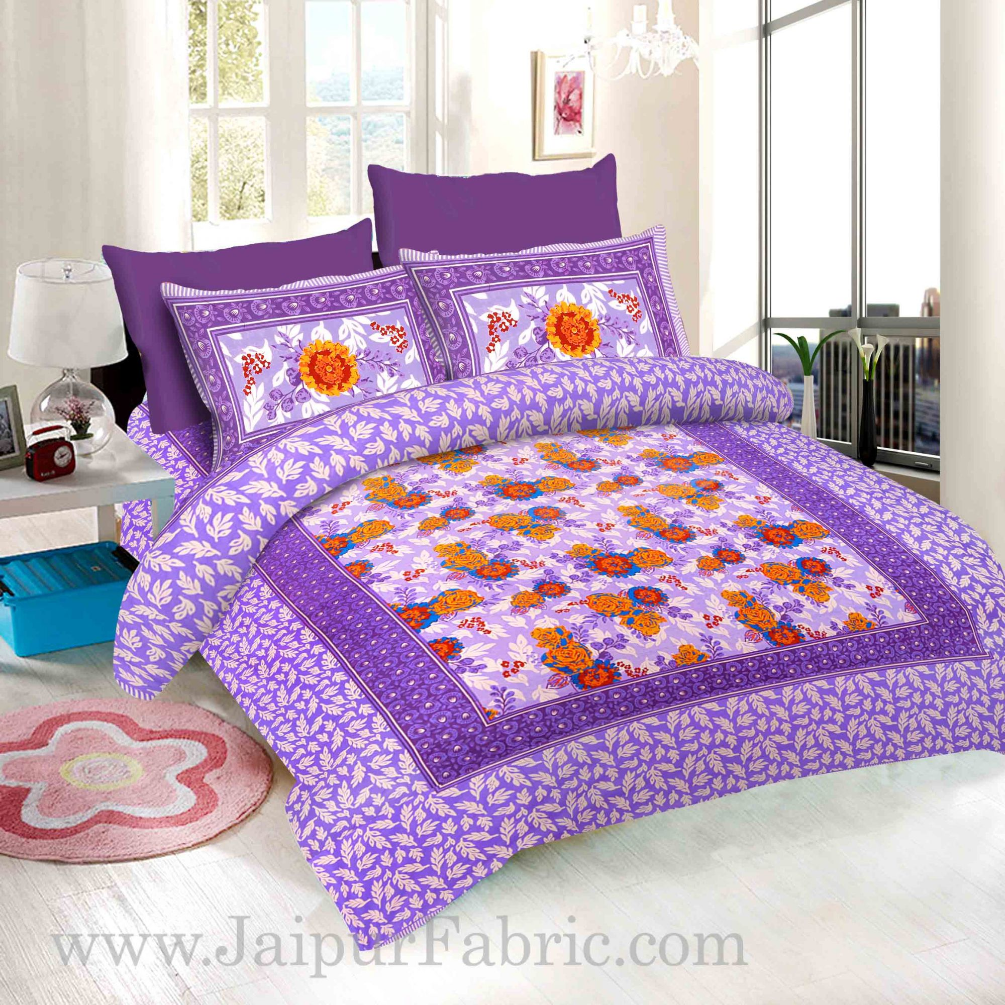 Purple Base Floral Design screen print king size double bedsheet with 2 pillow cover