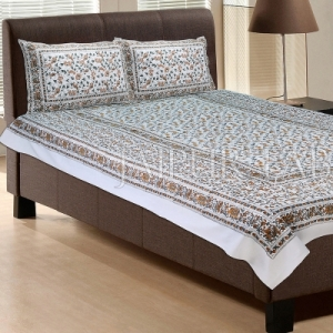 White Base With Brown and green Color Cattle Print Single Cotton Bed sheet